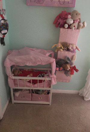 Baby doll Crib and stuffed animal organizer. for Sale in Virginia Beach, VA