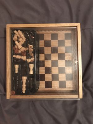 Photo Deluxe wood edition chess and checker board game.