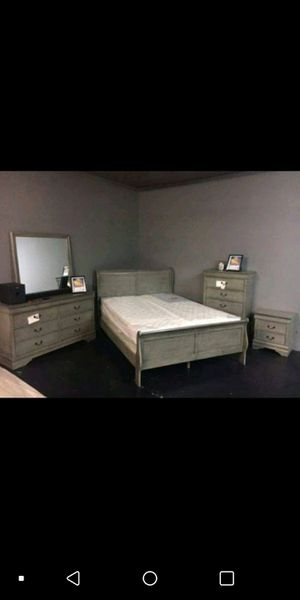 FREE DELIVERY- Brand New 4pc. Grey Queen Bedroom Set for Sale in Austin, TX