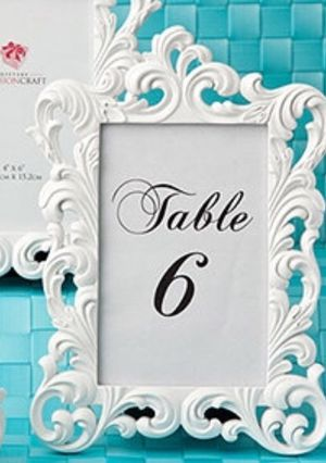 15, White, small baroque frames, Photo / place card space: 2.5\