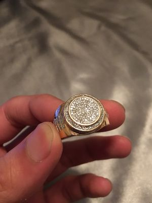 Unisex 10k Rose Gold + REAL DIAMOND Ring sz 8 . Priced to sell ! BIG BLING real gold for Sale in Rockville, MD