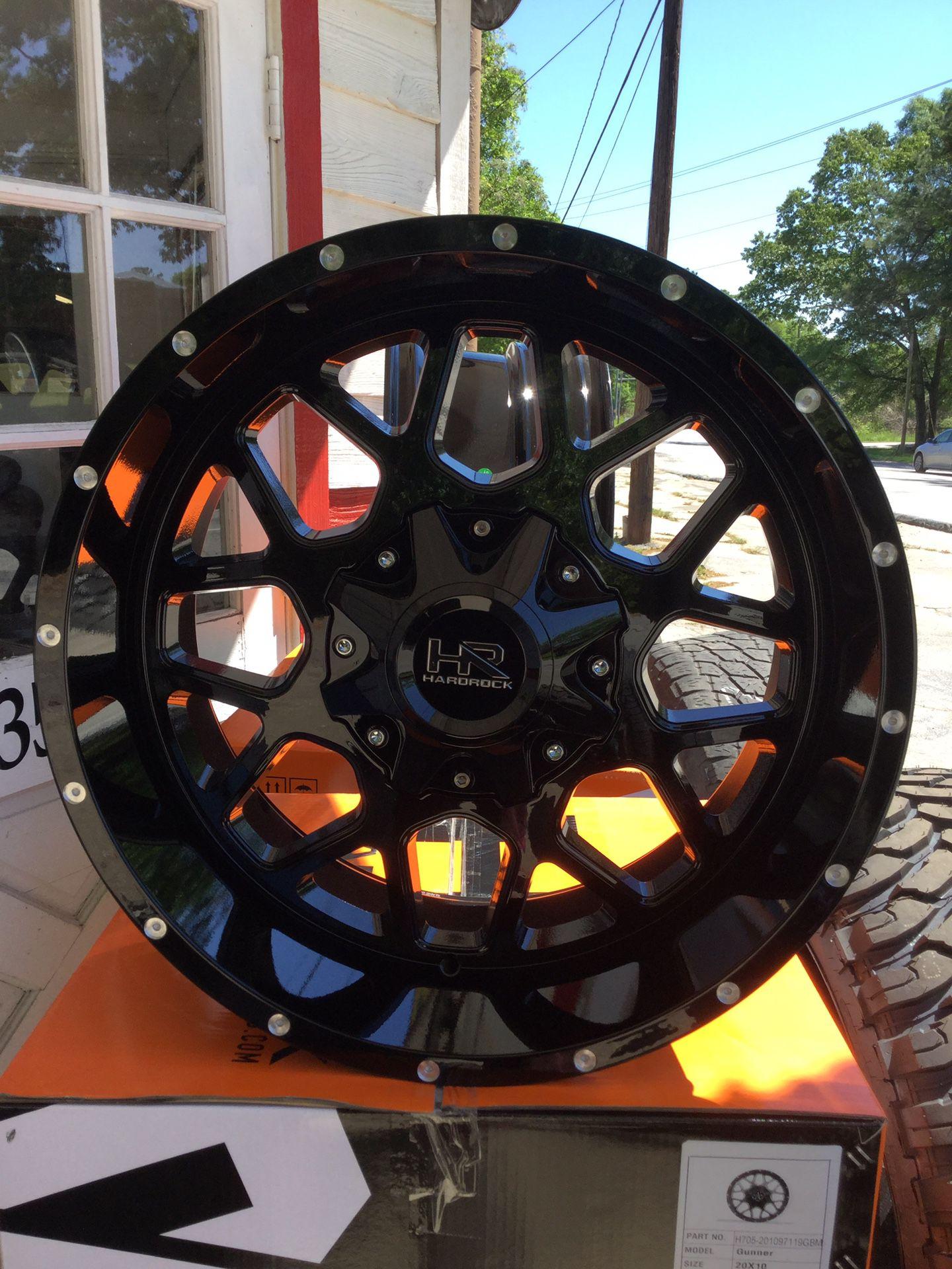 "20"" wheels 20x10 5x5.5 5x150 HARDROCK GLOSS BLACK and 20"" tires 33x12-50-20 COMFORSER CF3000 M/T ALL NEW FIT Toyota Tundra and Dodge Ram"