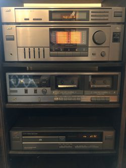 """Vintage 1992 JVC Stereo System w/console, CD Player, Dual Cassette Player, AM/FM Stereo Receiver w/Remote! 2-36"""" Tower Speakers Included!! Excellent Thumbnail"""