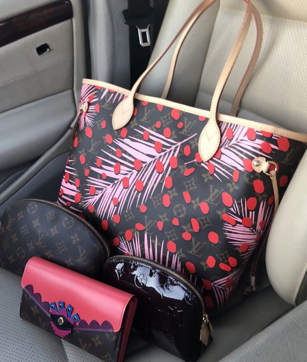 2cf3e849222c3 Authentic LTD Louis Vuitton Neverfull MM Jungle Palm and Dots Poppy Pink