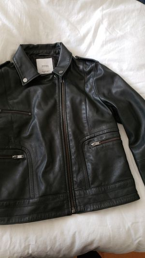 Mango black leather jacket for Sale in US