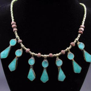 Vintage 19 Inch Rustic Blue Pedants Necklace Costume Jewelry Fashion Statement Wedding Bohemian Elegant Bridal Theater Cute Cool Native Odd for Sale in Lynnwood, WA