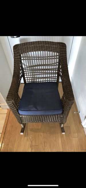 PATIO OUTDOOR INDOOR ROCKING CHAIR WITH CUSHION LIKE NEW for Sale in Washington, DC