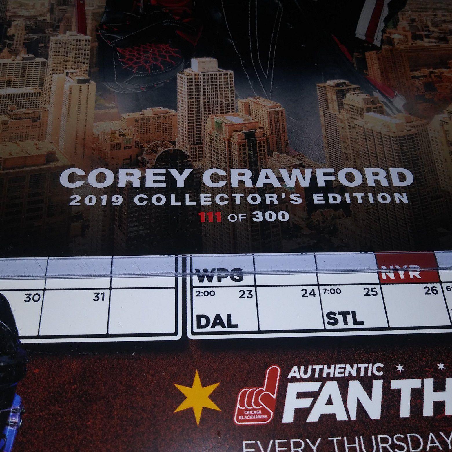 Chicago Blackhawks Corey Crawford Autographed Signed Skyline Photo 300 made