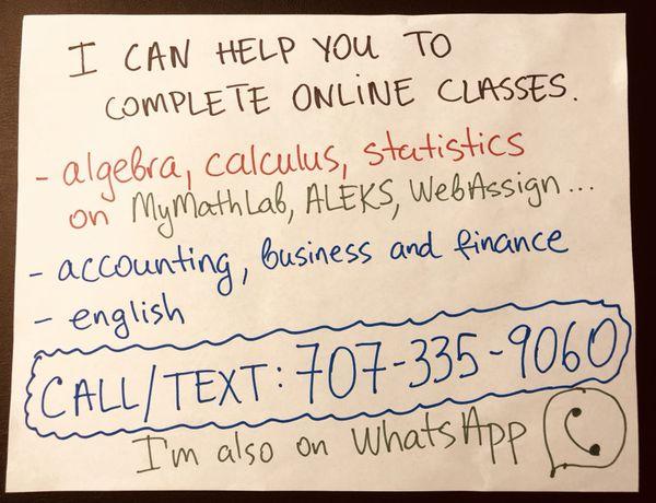 # algebra, calculus, trigonometry, statistics, math help, pearson  mymathlab, math tutor, online homework, accounting, english for Sale in  Urbana, IL -