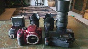 Nikon D3200 With 3 Lenses Battery Grip And Flash for Sale in Silver Spring, MD