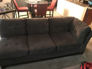 Long Grey micro suede sofa- smoke free home with 1 occupant for Sale in Silver Spring, MD