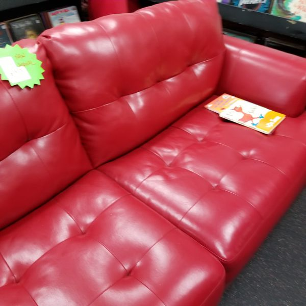 Dark red 7 foot long pleather sofa for Sale in La Mesa, CA - OfferUp