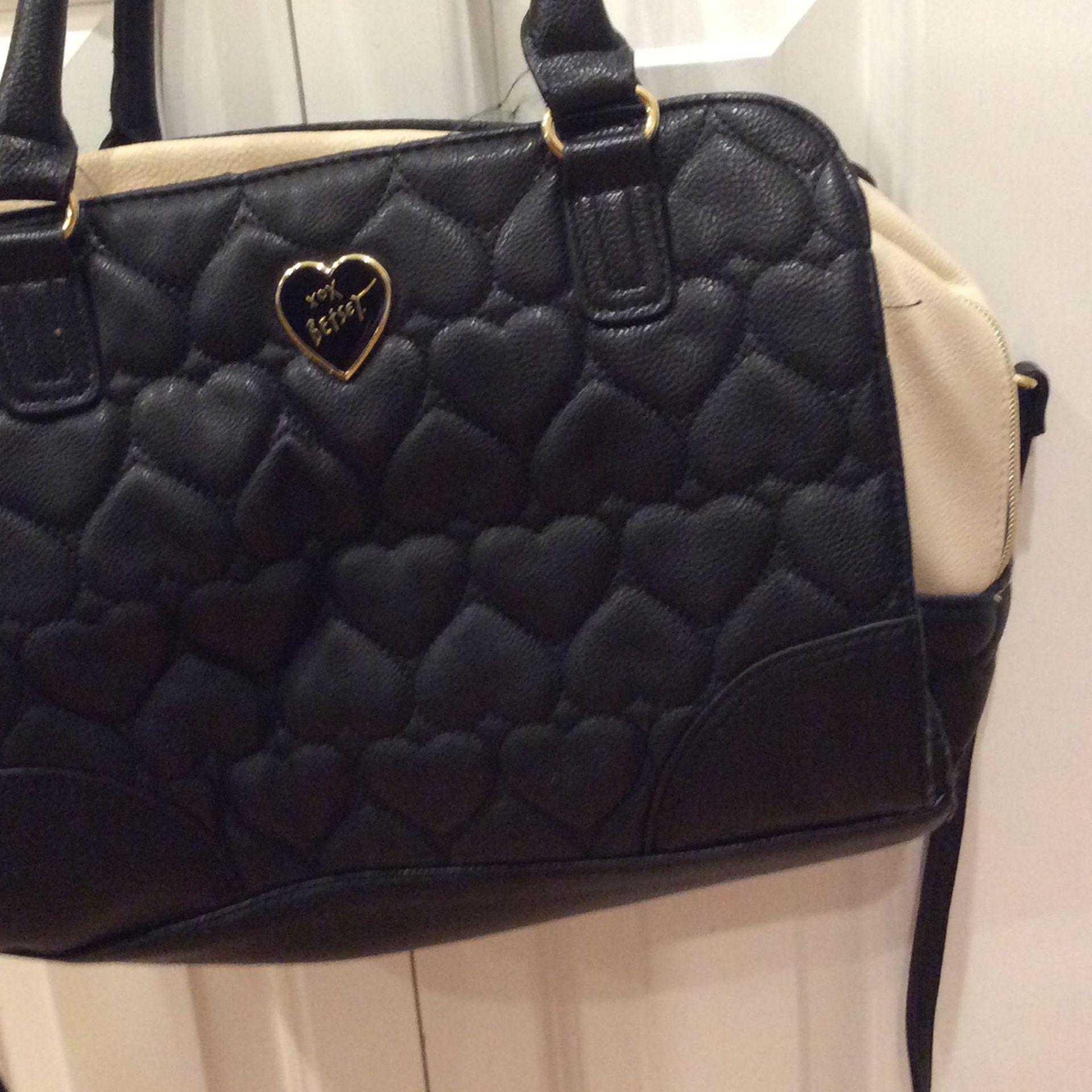 Betsy Johnson Quilted Hearts Handbag Shoulder Bag