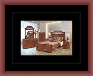11pc Ashley Cherry bedroom set with mattress for Sale in Herndon, VA