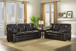 Brand New Black Faux Leather Sofa + Love Seat for Sale in Wheaton-Glenmont, MD