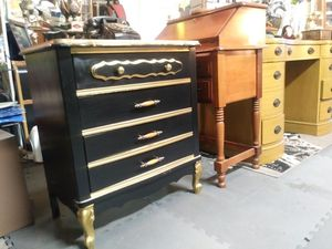Black and Gold French Provincial 3 drawer night stand for sale for Sale in St. Louis, MO