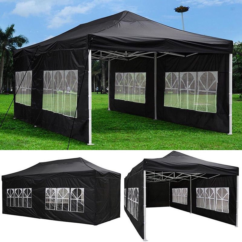$230 (new) heavy-duty 10x20 ft outdoor ez pop up party tent patio canopy w/bag & 6 sidewalls, black