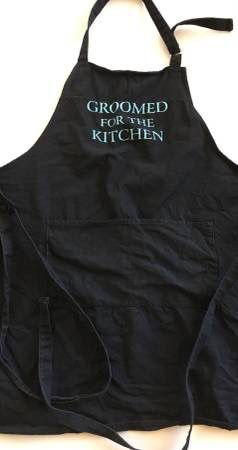 """Men's Male BBQ Grill / Cooking Funny Apron For Father Papa Husband Fiance Groom Spouse - """"Groomed For The Kitchen"""" for Sale in Chicago, IL"""