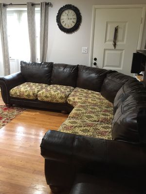 Leather sectional couch brown chocolate sofa fabric faux for Sale in Silver Spring, MD