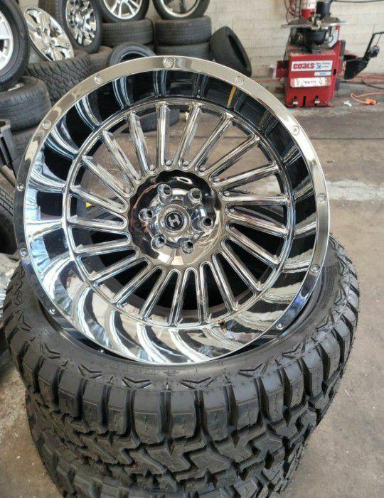 22x12 Chrome Hardcore Rims 6x139 On New Tires 33 1250 22 LT