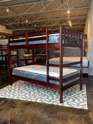 Photo Twin over twin espresso bunk beds and twin mattress