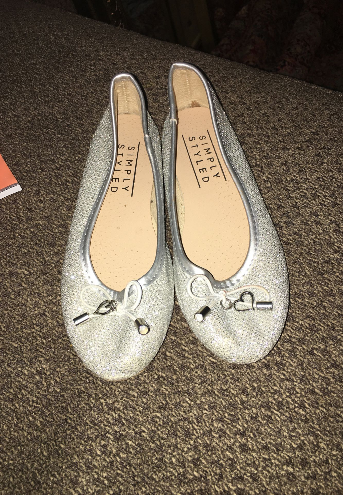 Silver sparkly little girl flats