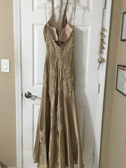 Designer 100% silk prom dress with hand-stitched embroidery Thumbnail