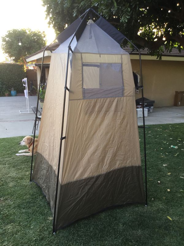 Camping Shower Utility Room 2 Solar Showers And A Folding Wooden Stand