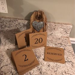 Wedding Table Numbers, Decorations Thumbnail