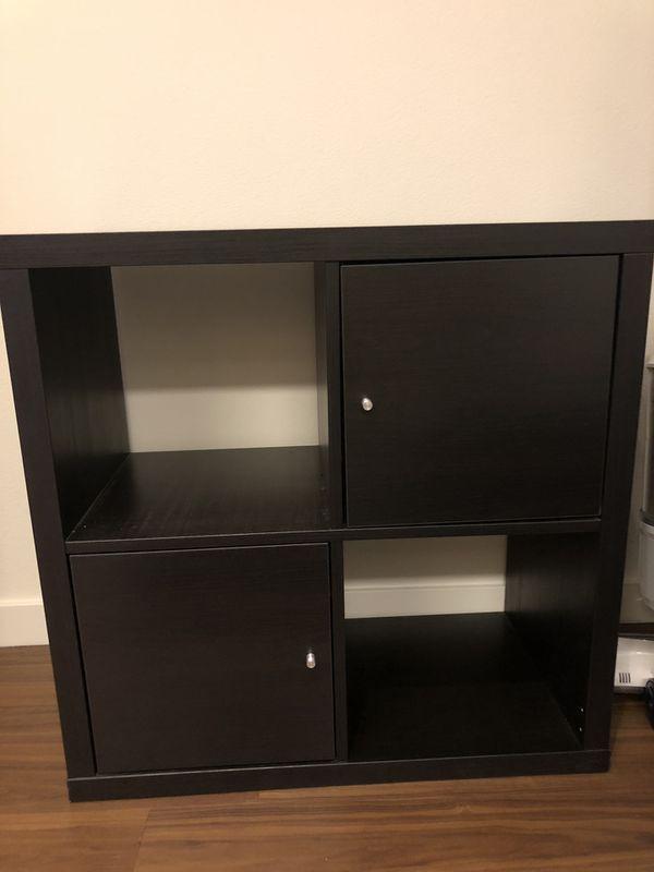 Ikea 4 Cube Kallax Storage In Brown Black For Sale In Santa Clara