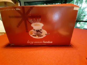 Fondue warmer with side plates and forks. New Thumbnail