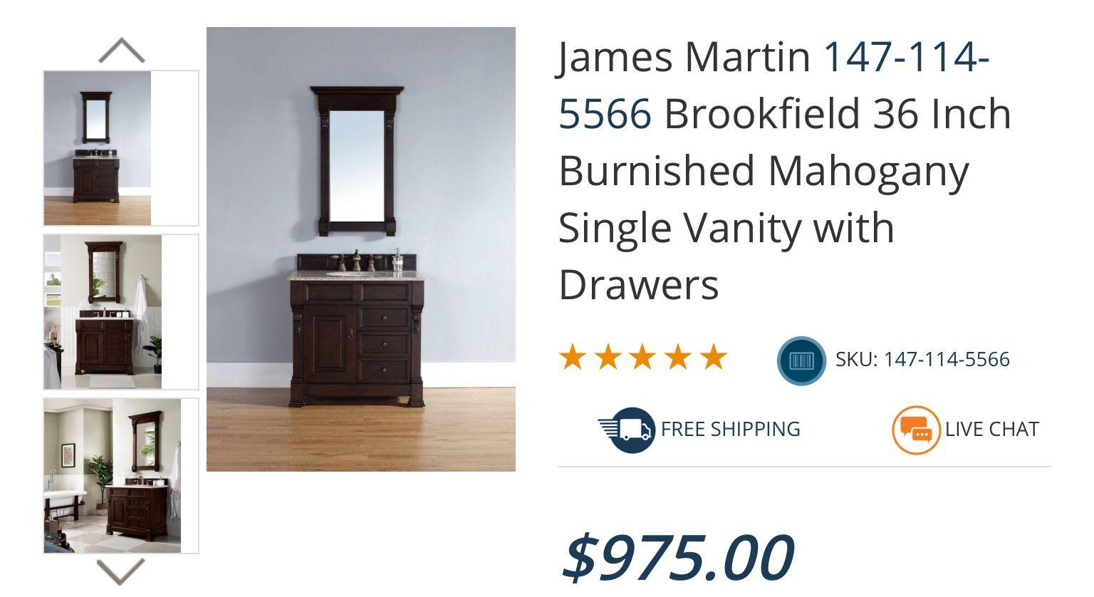 James Martin 147-114-5566 Brookfield 36 Inch Burnished Mahogany Single Vanity with Top