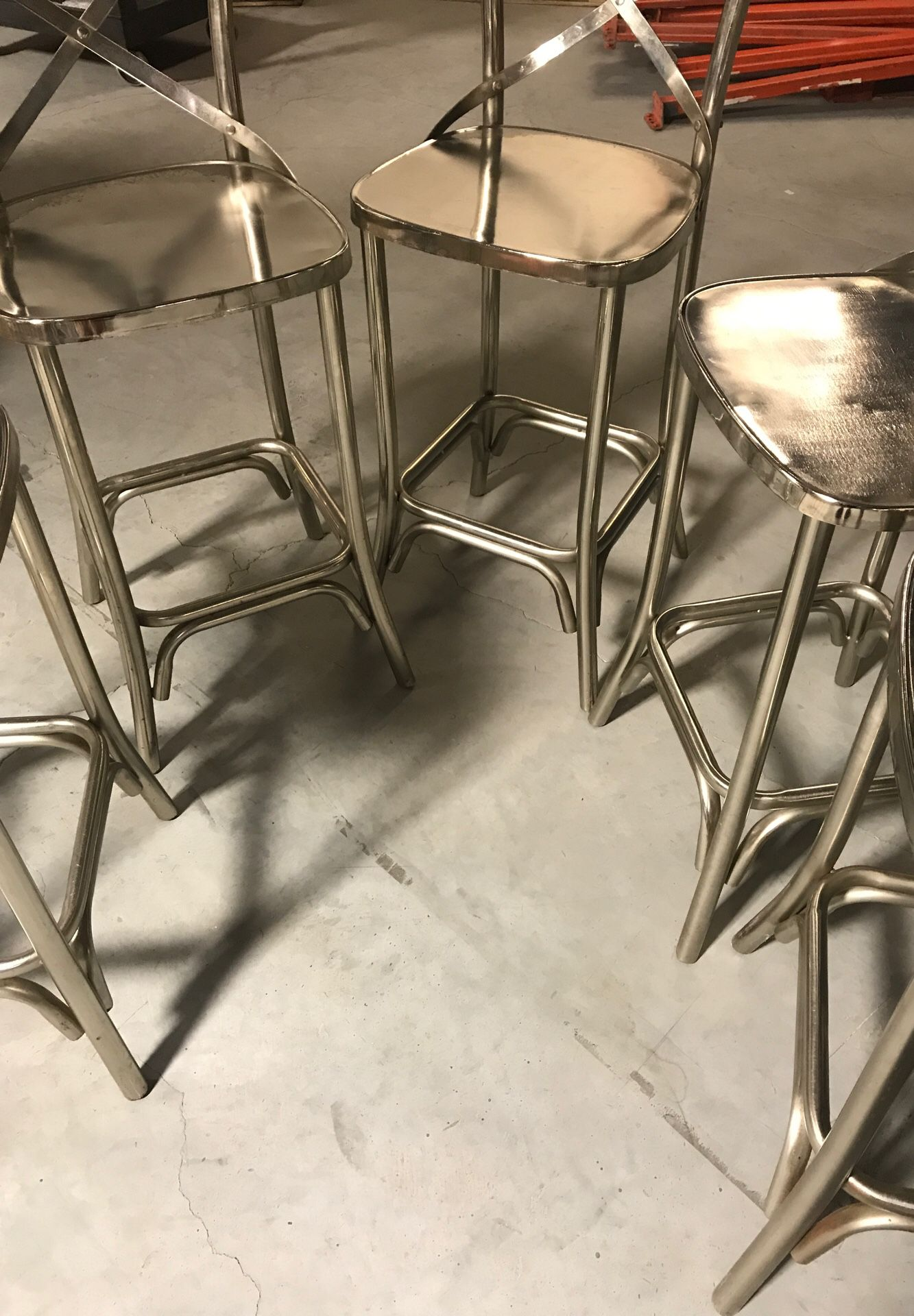 5 bistro chairs silver chrome high back