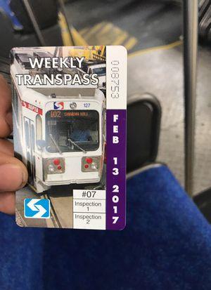 Septa Weekly Transpass 2/13-2/19 for Sale in Philadelphia, PA