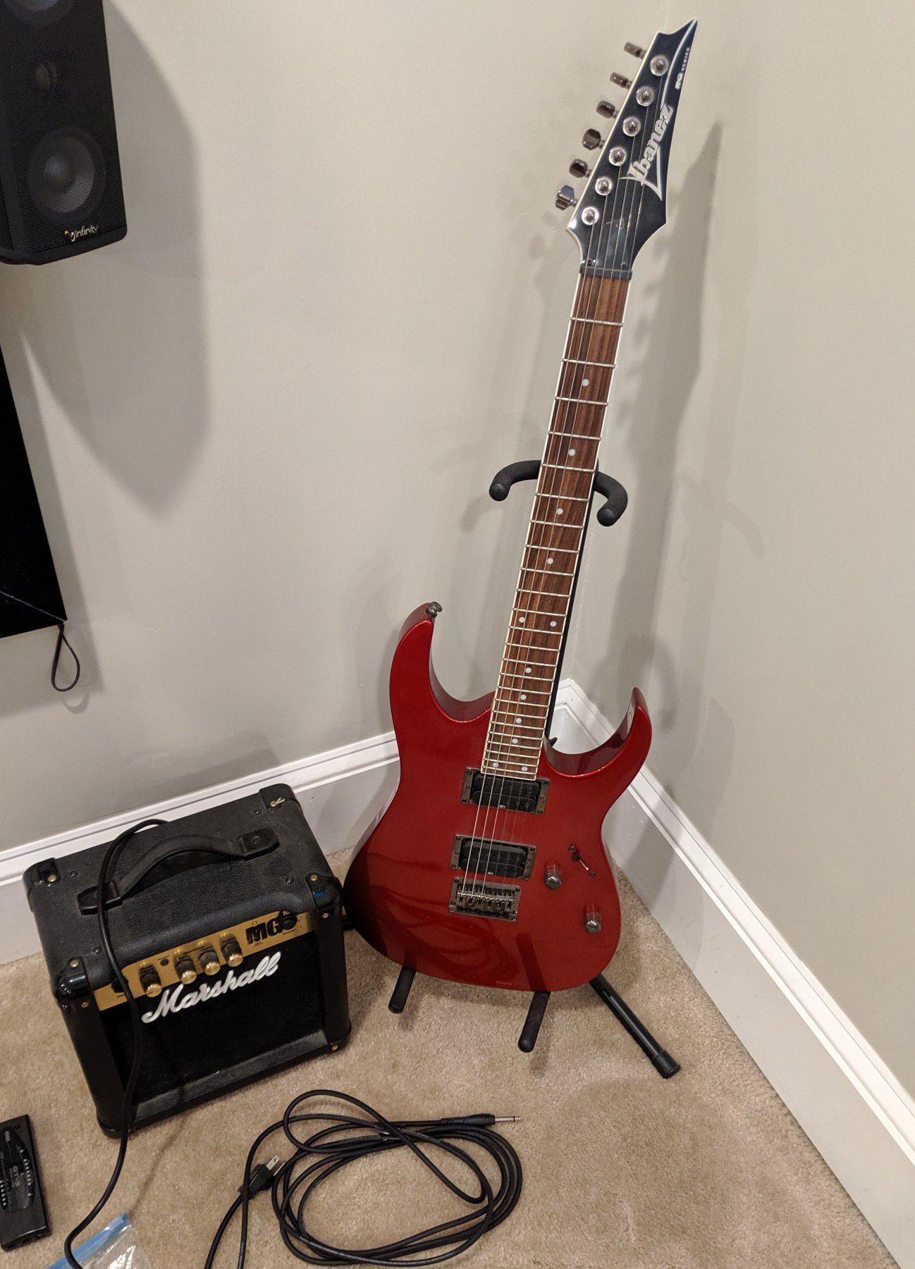 WTS Ibanez guitar, Marshall amp, bag & extras