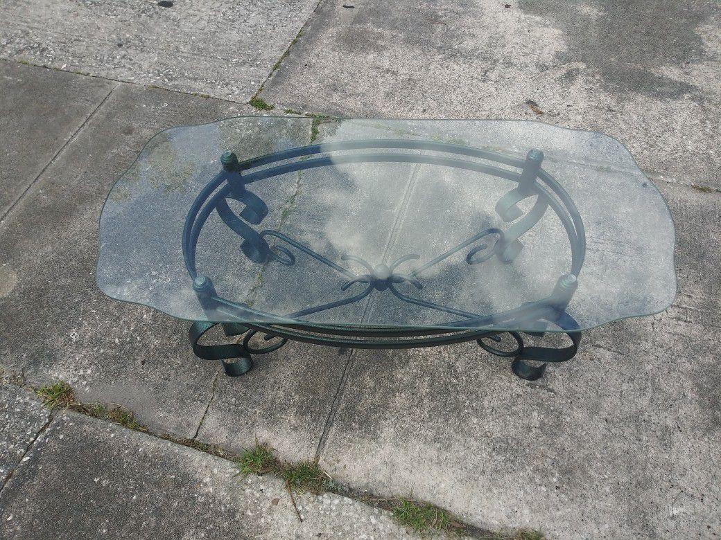 green/black steel base & glass top coffee table
