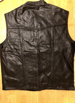 Motorcycle vest leather in all sizes available Thumbnail