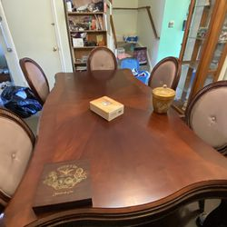 Cherry Wood Dining Table, Hutch, And 6 Chairs Thumbnail
