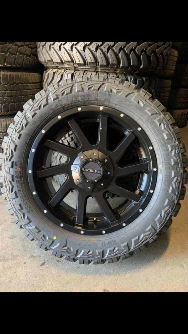"New 20"" Black Off Road Rims And 33x12.50r20 Tires 20s 20"