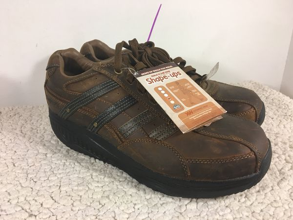 21383cae116f NWT Skechers Shape Ups Men s Sz 11.5 Distressed Dark Brown Leather Lace Up  Shoes