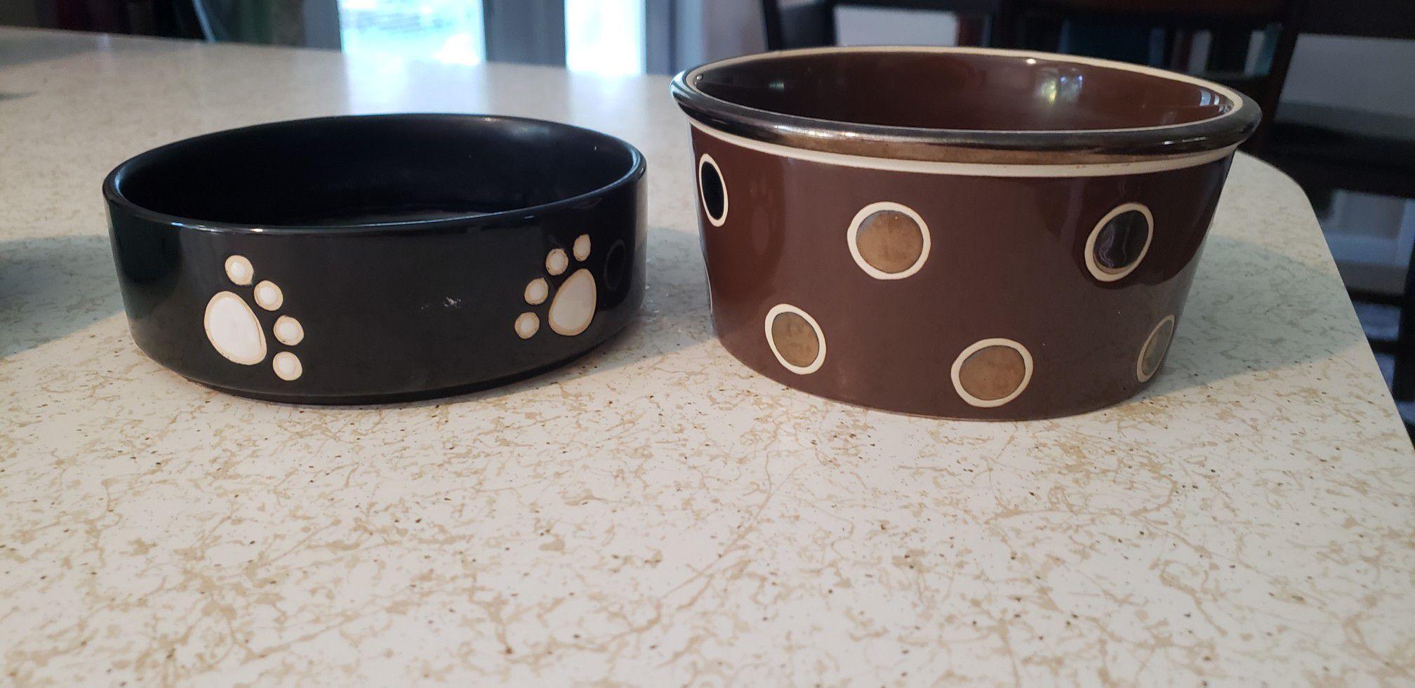 Cute dog food and water ceramic bowls