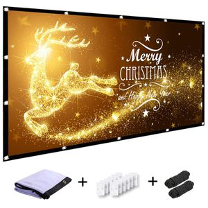 210. MINC 120 inch Projector Screen 16:9 HD Foldable Anti-Crease Portable Projection Movies Screen for Home Theater Outdoor Indoor Support Rear Proje for Sale in San Diego, CA