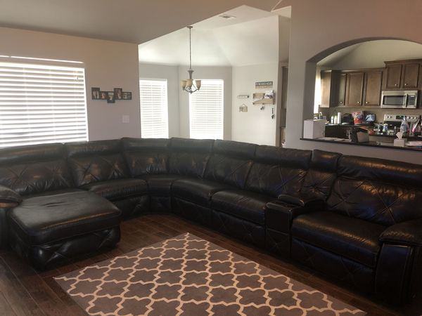 Cindy Crawford Collection Leather 7 Piece Sectional With 2 Reclining Sections For Sale In Arcola
