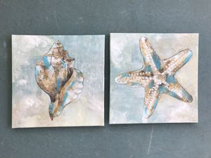 "Photo Coastal Beach Hand Painted Shell Canvas Wall Decor Set of 2 new 12"" x 12"" x 1"""