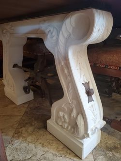 Custom Dinning Room Table, 116 Inches Long, Hand Crafted Chairs, Solid Wood And Limestone Thumbnail