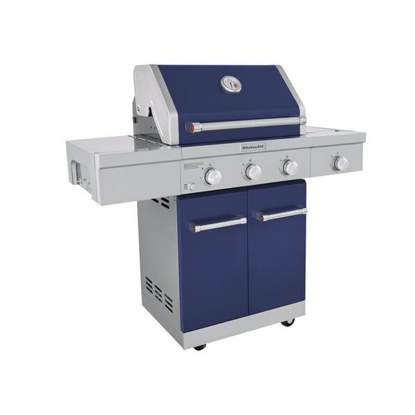 KitchenAid 3-Burner Propane Gas Grill in Blue with Ceramic Sear Side Burner  for Sale in Richmond, TX - OfferUp