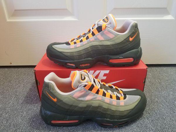 reputable site c74de 143ea Nike Air Max 95 OG 2018 String Total Orange Neutral Olive Running Shoes  AT2865 200