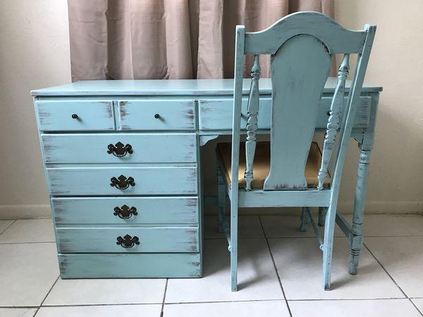 blue shabby chic furniture. Vintage Ethan Allen 1950s Old Taver Desk With Chair Green Blue Bluish Shabby Chic (Furniture) In West Palm Beach, FL - OfferUp Furniture