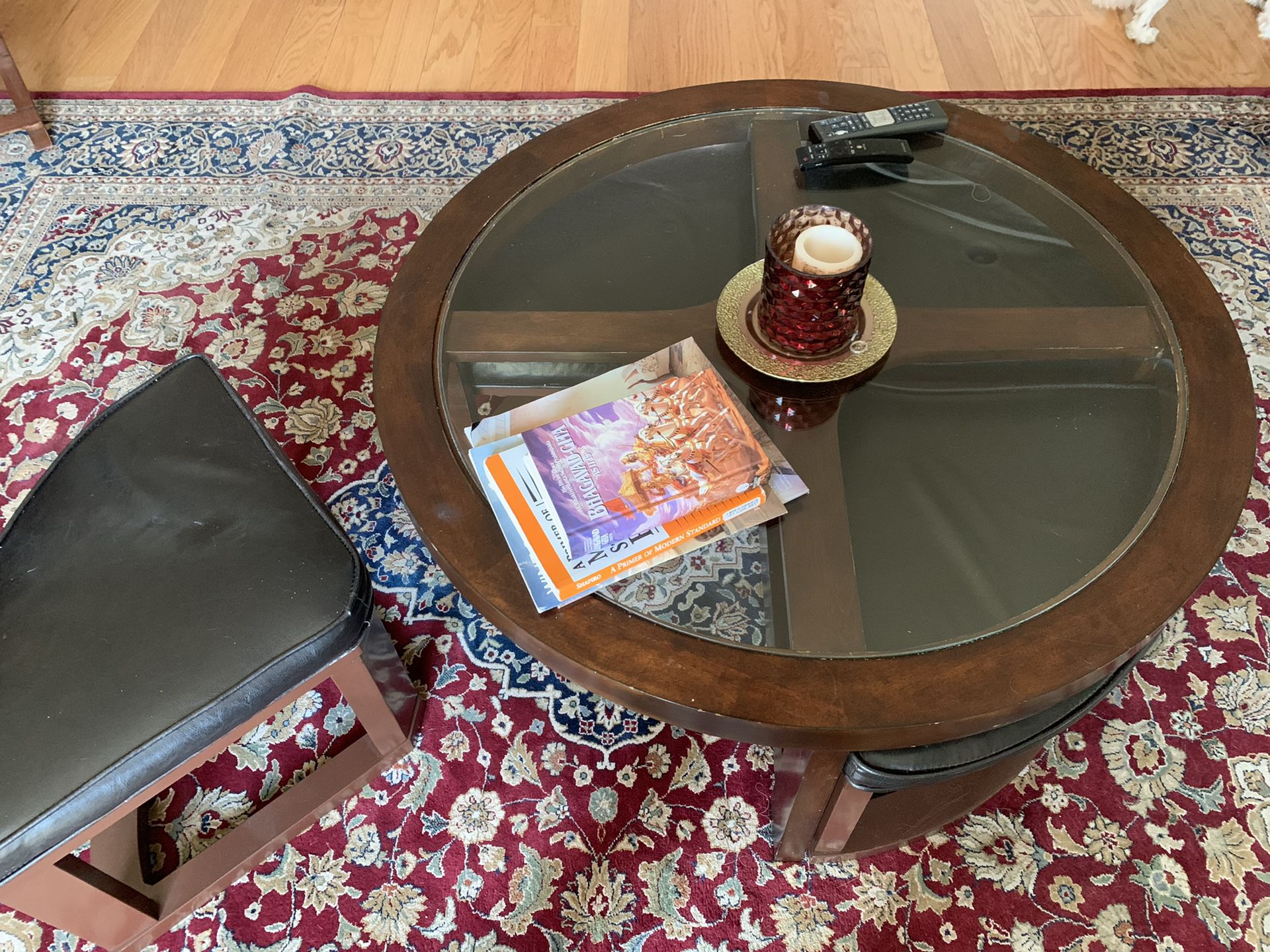 Coffee Table with 4 Hidden Seats