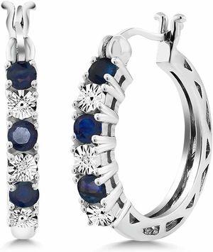 Photo Real 925 silver blue gem hoop earrings